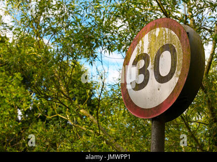 Thirty MIles Per Hour road spped limit sign, Kidderminster, Worcestershire, England, Europe - Stock Photo