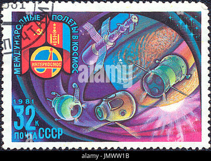 SOVIET UNION - CIRCA 1981: Postage stamp printed in Soviet Union devoted to the international space flights. Stamp - Stock Photo