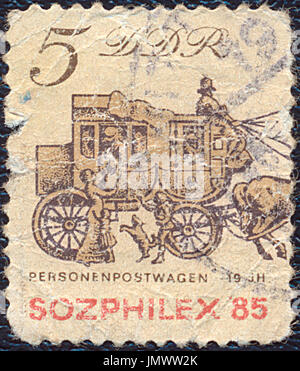 Germany - 1985: Postage stamp printed in DDR (Germany) shows the Passenger mail. Stamp printed by German Post circa - Stock Photo