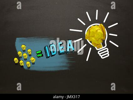 Digital composite of Many little lightbulbs equals idea and big light bulb with crumpled paper with blackboard - Stock Photo