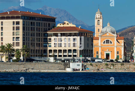 Ajaccio cityscape with blue sea on the island Corsica, France. - Stock Photo