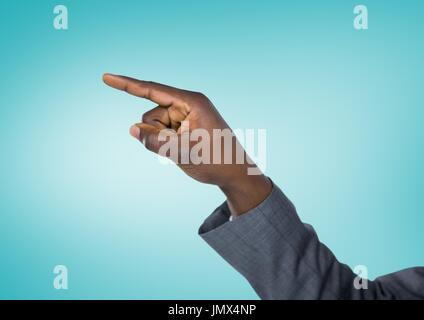 Digital composite of Businessman's hand pointing with blue background - Stock Photo