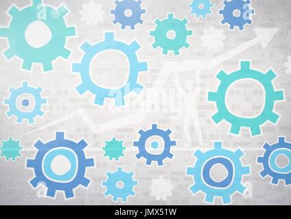 Digital composite of cog wheel settings graphics with bright background - Stock Photo