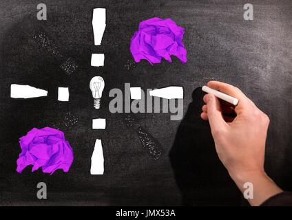 Digital composite of Hand drawing light bulb with crumpled paper balls in front of blackboard - Stock Photo