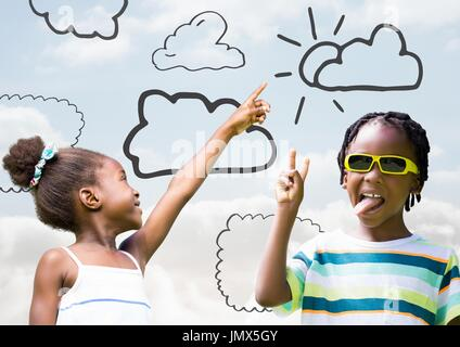 Digital composite of Kids pointing at sky and playing with cloud drawings - Stock Photo