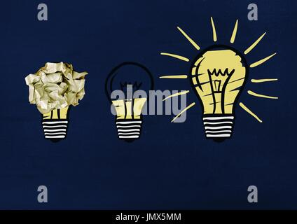 Digital composite of light bulbs with crumpled paper ball in front of blackboard - Stock Photo