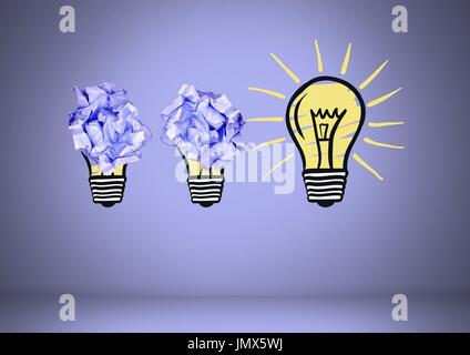 Digital composite of light bulbs with crumpled paper balls - Stock Photo