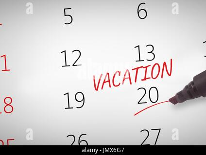 Digital composite of Vacation Text written on calendar with marker - Stock Photo