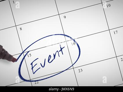 Digital composite of Event Text written on calendar with marker - Stock Photo