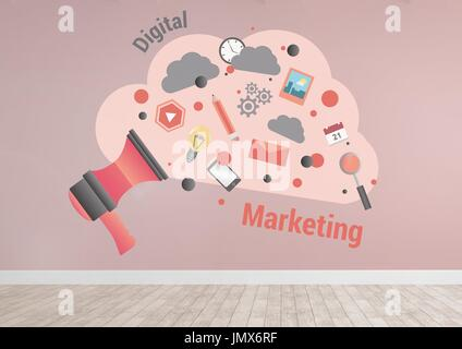 Digital composite of Digital marketing cloud graphics in pink room - Stock Photo
