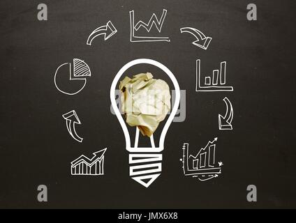 Digital composite of light bulb with crumpled paper ball and business graphics in front of blackboard - Stock Photo