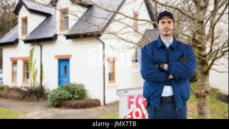 Digital composite of Security guard with arms crossed standing on road against house - Stock Photo