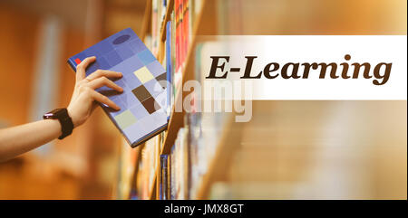 Digitally generated image of Education text  against students hand with smartwatch picking book from bookshelf - Stock Photo