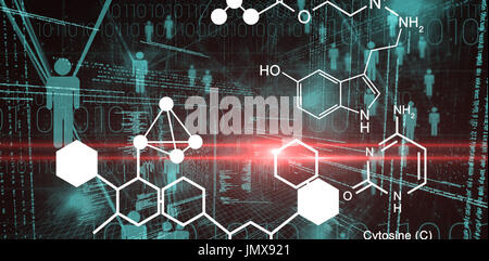 Digitally generated image of chemical structure against binary codes and people icons - Stock Photo