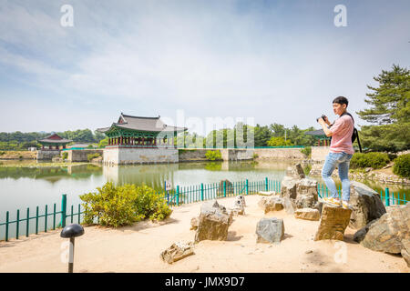 Tourists visiting Donggung Palace and Wolji Pond on Jun 22, 2017 in Gyeongju, South Korea - Tour destination - Stock Photo
