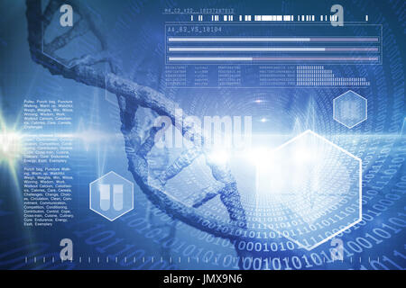 Digital image of DNA helix against spiral of shiny binary code - Stock Photo