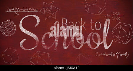 Digital image of back to school text against brown blackground - Stock Photo