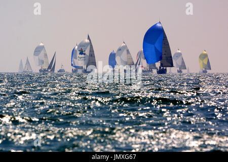 Yacht Racing, Cowes, Isle of Wight, UK, - Stock Photo