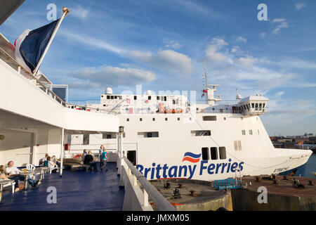 Brittany Ferries - a Brittany Ferry in dock, Portsmouth Harbour, Portsmouth UK - Stock Photo