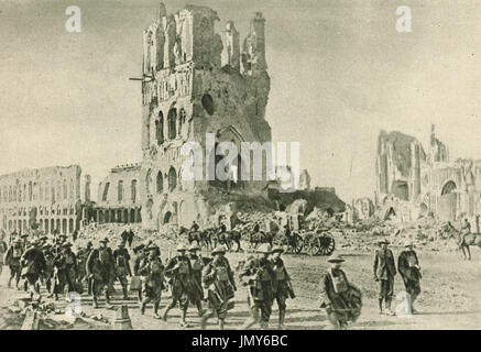Historic Ypres cloth hall in ruins, 1918 - Stock Photo