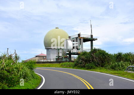 This is a radar military building in Kenting, Taiwan for monitoring aircraft on radar. - Stock Photo