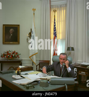 United States President Lyndon B. Johnson sits at his desk in the Oval Office of the White House in Washington, D.C.  and speaks on the telephone on January 17, 1968. Mandatory Credit: Kevin Smith - LBJ Library via CNP