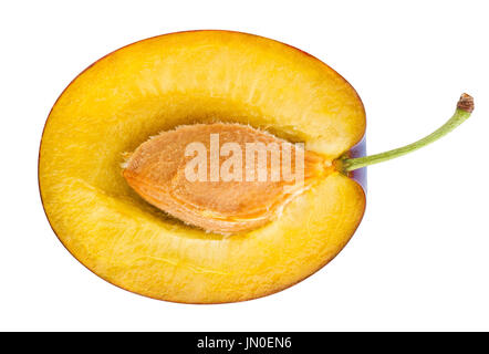 sliced red plums path isolated - Stock Photo