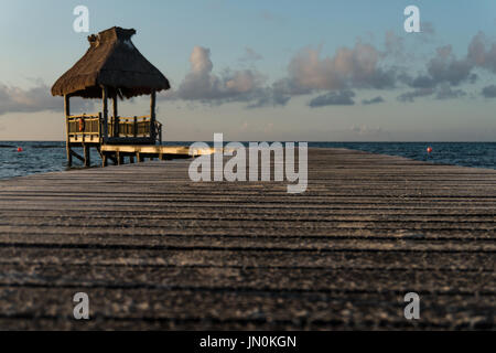 The boardwalks on the beach at the Vidanta resort in the Riviera Maya Mexico.