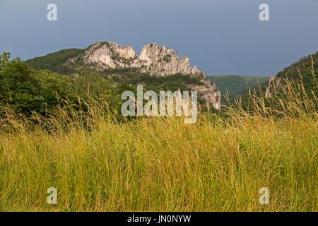 Seneca Rocks, West Virginia - The north and south peaks of Seneca Rocks, a popular rock climbing area in Monongahela - Stock Photo