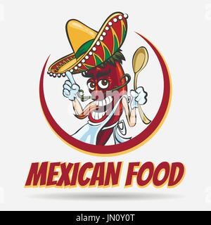 Cartoon mexican red chili pepper with green mustache in sombrero hat. Mexican food logo, labels, emblems and badges. - Stock Photo