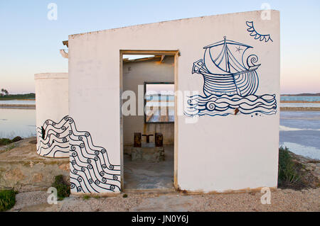 Old abandoned facilities of the saltworks at Ses Salines Natural Park (Formentera, Balearic Islands, Spain) - Stock Photo