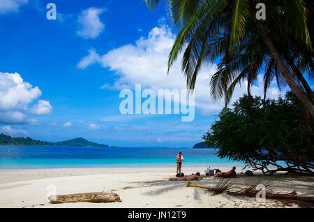 Beautiful beach scene with crystal clear water on the island called Isla Granito de oro on coiba national nature - Stock Photo