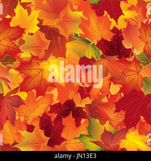 Autumn texture. Wallpaper with maple leaves. Fall seamless pattern. Nature background. - Stock Photo