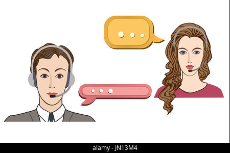 Call center concept with man and woman in headset. Vector icon set. Customer service avatar. - Stock Photo
