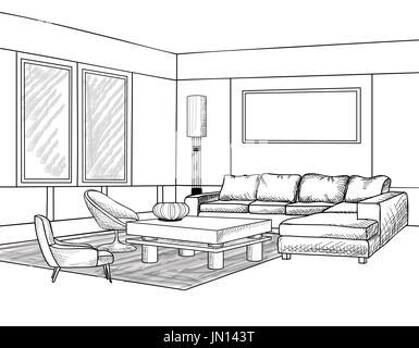 Blueprint Interior Design interior outline sketch. furniture blueprint. architectural design
