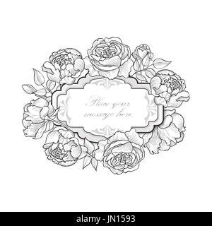 Floral Border Vintage Flourish Background In Victorian Style