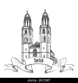 Zurich. City landmark Great Minster label. Symbol of the capital of Switzerland. - Stock Photo