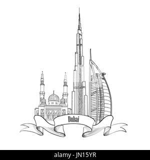 Travel UAE symbol. Dubai city label. - Stock Photo