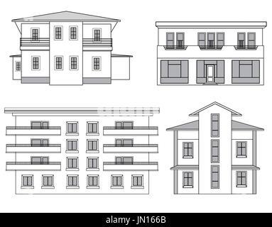 Houses. Building facade set. - Stock Photo
