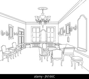 Living room view interior outline sketch furniture blueprint stock furniture blueprint architectural design living room stock photo malvernweather Image collections