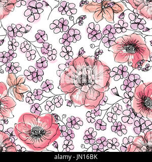 Floral seamless background Flower pattern. - Stock Photo