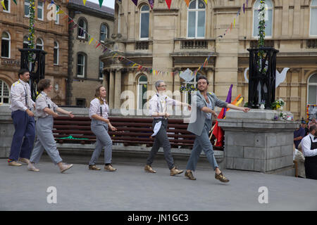 Hull,UK,29th July2017,A Duckie Summer Tea Party takes place in Hull as part of LGBT 50. MC Amy Lamé and her waiters - Stock Photo