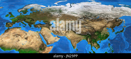 Map of Eurasia. Detailed satellite view of the Earth and its landforms, focused on Europe and Asia. Elements of - Stock Photo