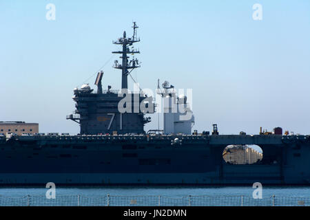 Aircraft carrier USS Theodore Roosevelt (CVN 71) being restocked in San Diego Naval Base, Southern California. - Stock Photo