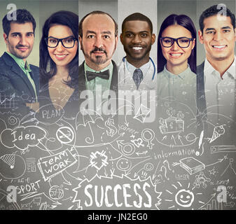 Business people brainstorming exchanging ideas - Stock Photo