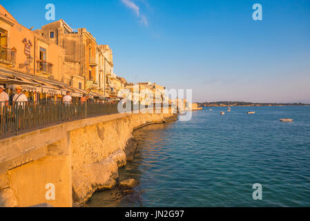 Sicily east coast, view of the sea wall at Ortigia  near Syracuse in Sicily. - Stock Photo