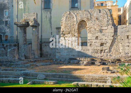 Ortigia Sicily Greek ruins, the ruined ancient Greek temple of Apollo on Ortigia Island, Syracuse,Sicily. - Stock Photo