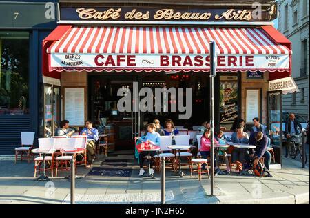 The Cafe des Beaux Arts is a typical Parisian brasserie,Paris, France. - Stock Photo