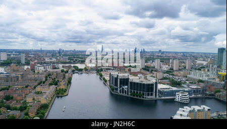 Aerial view of the Millwall outer dock in the financial district of the Docklands in London - Stock Photo