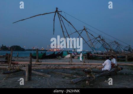 Chinese fishing nets, Fort Kochi, Kerala, India - Stock Photo